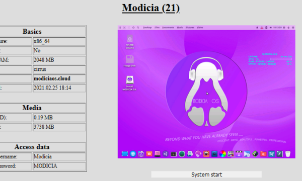 "You can try the new ISO of MODICIA O.S. 21 directly online on the ""DistroTest"" site by following the link incorporated in the image below."